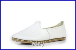 Unisex White Color Leather Handmade Sabah Slip On Loafer Turkish Slip On