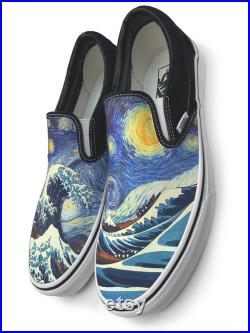 Van Gogh Great Wave Starry Night Custom Vans Brand Slip-on Shoes