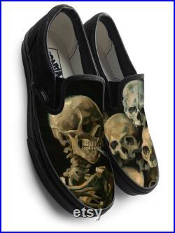 Van Gogh Smoking Skeleton Slip on Custom Vans Brand Shoes