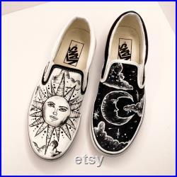Vans- custom moon and sun