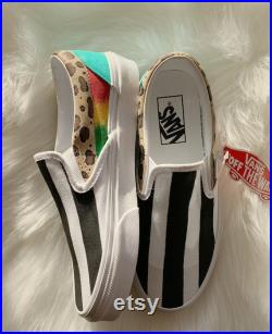 Vans slip ons Just a girl custom painted black and white stripe leopard rasta ombre teal gwen stefani inspired no doubt
