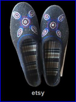 Waterproof shoes made from goat hair with authentic hand embroidery for women and men