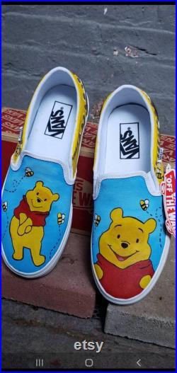 Winnie the pooh inspired custom slip ons